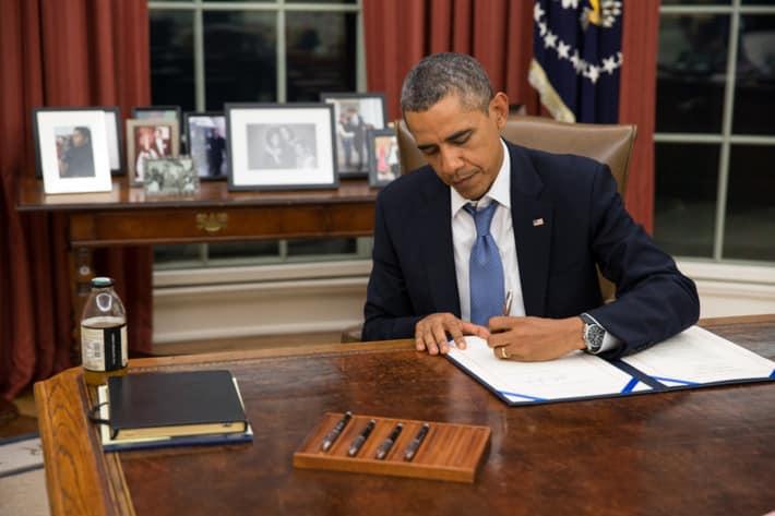 Apprendre à bien écrire en cursive - Barack Obama Photo: Pete Souza/United States Goverment Work