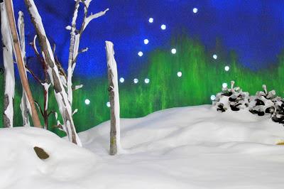 fausse neige, constellation, aurore boréale