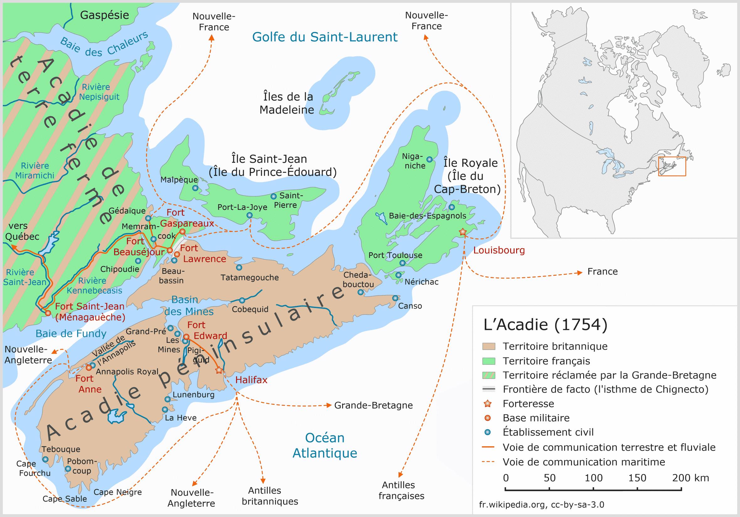 L'Acadie en 1754