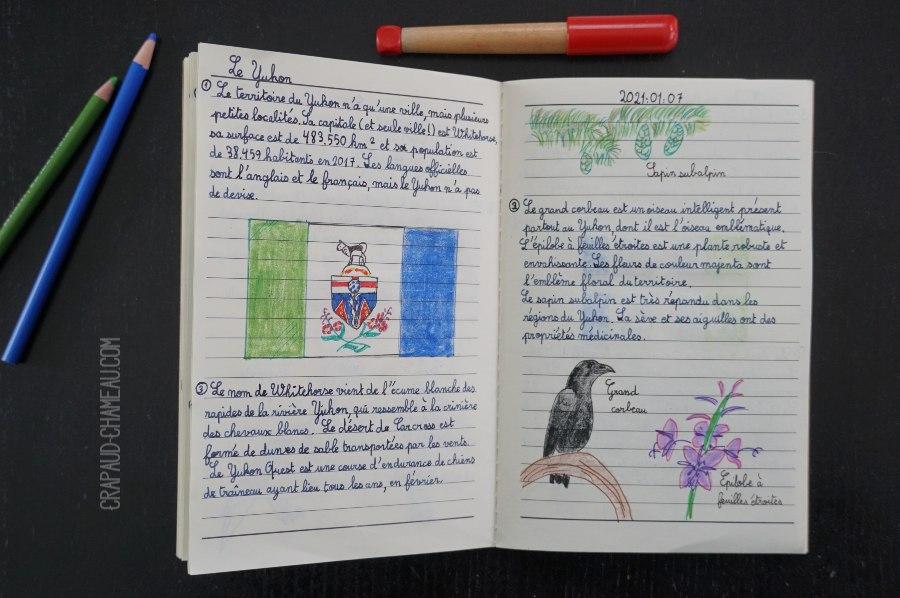 Notebooking Géographie du Canada en école à la maison copyright crapaud-chameau.com
