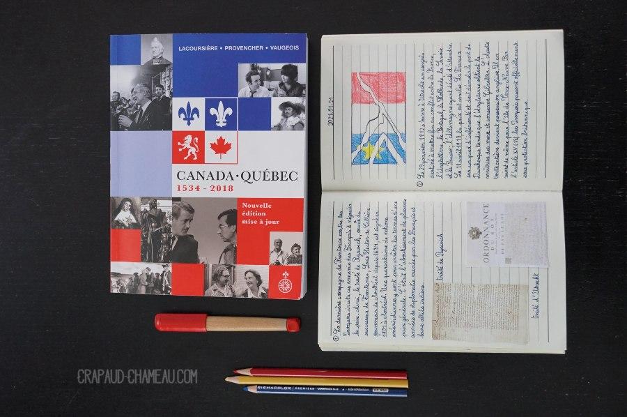 Notebooking Histoire du Québec en école à la maison copyright crapaud-chameau.com